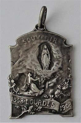 Rare Old Religious Solid Silver Medal Apparition Of Lourdes