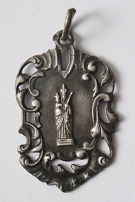Rare Old Religious Ornate Solid Silver Medal Virgin Mary
