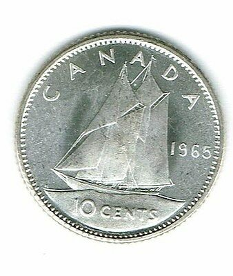 1965 Canadian Brilliant Uncirculated Business Strike Silver Ten  Cent Coin!