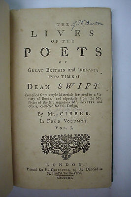 1753 First Edition LIVES ON THE POETS OF GREAT BRITAIN AND IRELAND Complete Set