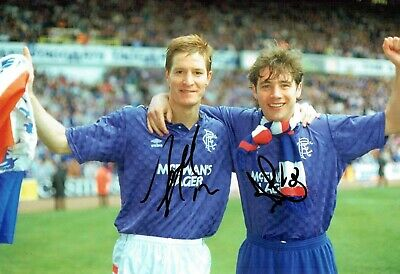 Ally McCOIST & Richard GOUGH SIGNED Autograph Photo Glasgow Rangers AFTAL COA
