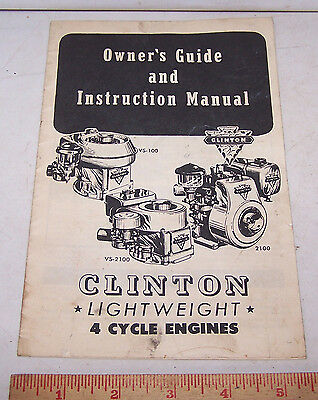 Vintage CLINTON 4 CYCLE ENGINES OWNER'S MANUAL