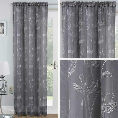 Grey Voile Curtain Panels Silver Freya Floral Slot Top Sheer Rod Pocket Voiles