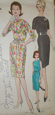 Vintage 1960s Vogue 5556 Bateau Drape Neck Sheath Dress Pattern 32B sz 12