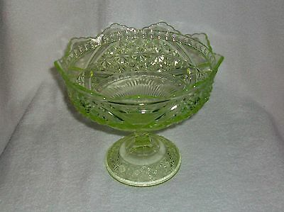 EAPG Richards & Hartley Vaseline Glass Daisy & Button W/ Crossbars Open Compote