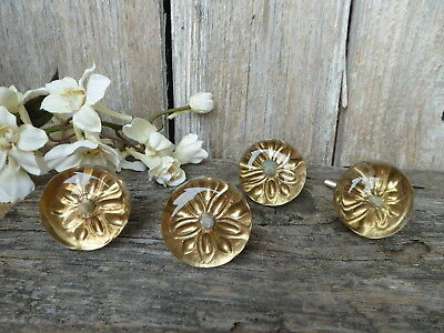 Round Glass & Gold  Flower Knob Drawer Pull Modern Art Deco Hollywood Regency