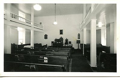 Interior of Small Church-Chapel Building-Pews-RPPC-Vintage Real Photo Postcard