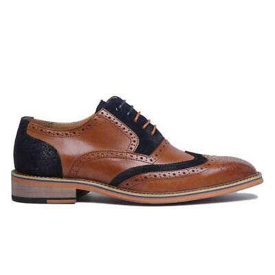 Justin Reece Fred Brogue Shoes Brown Navy