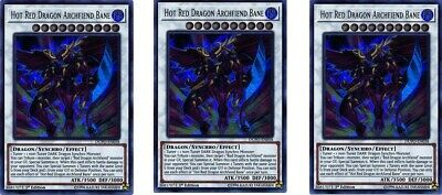 3 x Hot Red Dragon Archfiend Bane  DUPO-EN058 Ultra Rare  YuGiOh Cards