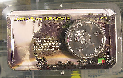 2002 Zambian 1 Oz Sterling Silver 1000 Kwacha Coin David Livingstone in Showpak