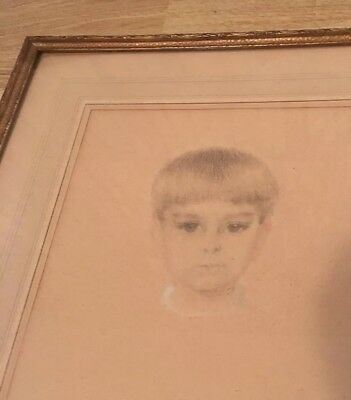 BEAUTIFUL VINTAGE 50s Young Boy PORTRAIT GLASS FRAMED SIGNED