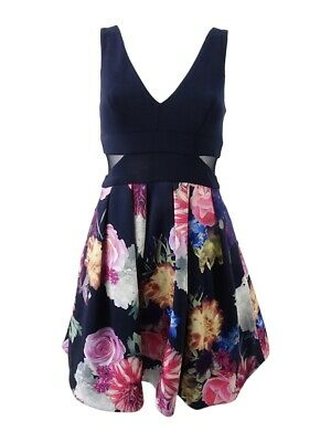 0016d44b XSCAPE NAVY PINK Sleeveless Illusion-Inset Floral-Print Fit & Flare ...