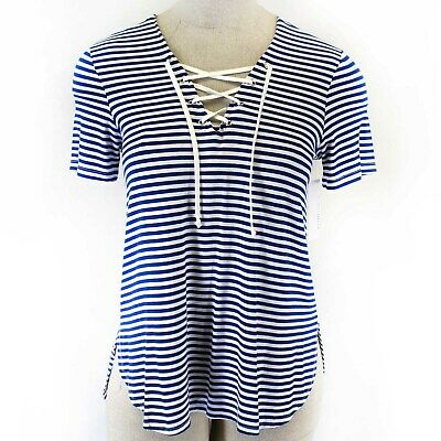 Karen Kane Blue Striped Rayon Drawstring Front Blouse Tunic Top Plus X-Large