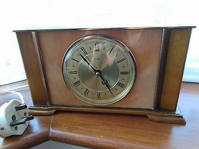 Retro Vintage Metamec Electric Wood And Marble / Onyx Mantle Clock Working Order