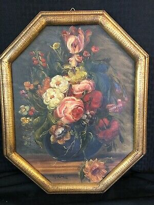 G.Duray Antique 19th C French Floral Shabby Chic Roses Oil Painting Gilt Frame 1