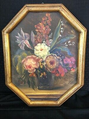 G.Duray Antique 19th C French Floral Shabby Chic Roses Oil Painting Gilt Frame 2