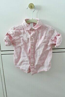 Janie And Jack Summer Light Pink Button Down Shirt Linen Infant Boys 3-6 Months