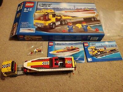 4643 Power Boat Transporter Lego City Town Construction Complete Boxed VGC