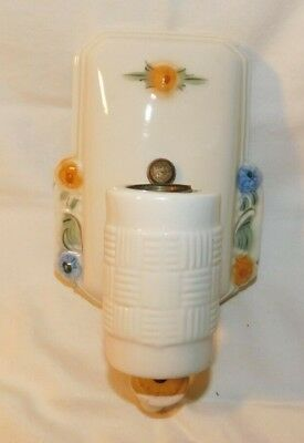 AWESOME Art Deco Floral Pattern Porcelain Wall Fixture Light Glazed Ceramic # 2