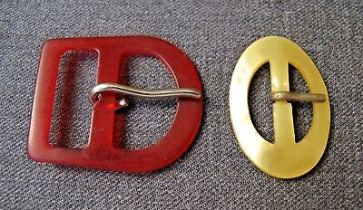 2 Vintage Juicy Red & Marbled Light Yellow Celluloid Belt Buckles