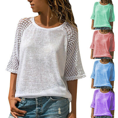 07510eba Summer Womens Loose T Shirts Crew Neck Short Sleeve Tops Tees Pullover Plus  Size