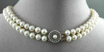 Estate 14Kt White Gold Double Strand Aaa Natural South Sea Pearl Necklace 19856