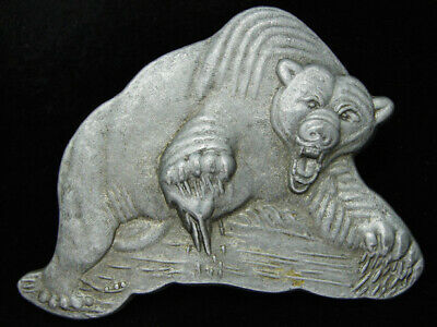 PF17108 VINTAGE 1970s CUT-OUT **ANGRY BEAR** COMMEMORATIVE PEWTER BELT BUCKLE