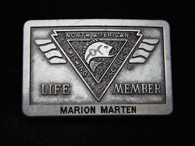 RB13125 VINTAGE 1980s **NORTH AMERICAN FISHING CLUB** LIFE MEMBER BELT BUCKLE
