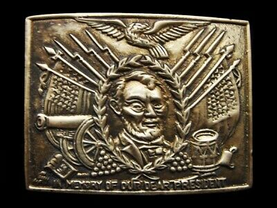 LG23153 1970s **IN MEMORY OF OUR DEAR PRESIDENT** (LINCOLN) SOLID BRASS BUCKLE