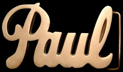 MH04175 *NOS* VINTAGE 1970s CUT-OUT ***PAUL*** SCRIPT NAME SOLID BRASS BUCKLE