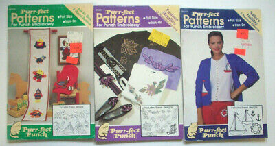 3 Purr-fect Patterns Punch Embroidery Books Nautical Robots Metallics flowers