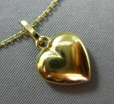 Estate Small 14Kt Yellow Gold 3D Puff Heart Double Sided Charm Pendant #25159