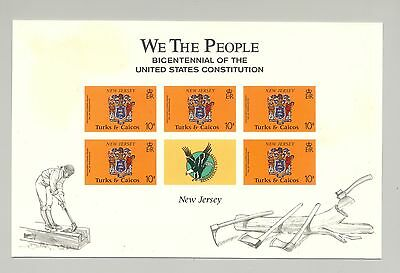 Turks & Caicos 1987 New Jersey M/S of 5 Unissued Imperf Chromalin Essay