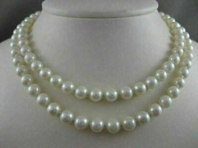 "Estate 8Mm White South Sea Pearl 14Kt Yellow Gold 32"" Long Opera Necklace #7525"