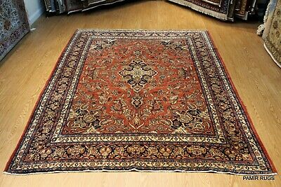 Vintage Rug Late 19th Century Antique Persian authentic Rug rust & Blue color