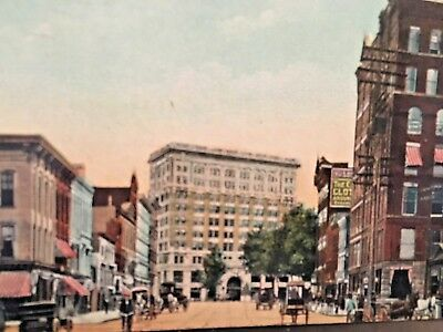 Postcard Hand Tinted 1909 View of Court Street looking East, Binghamton, NY   X1