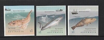 AUSTRALIA 2019 - SUSTAINABLE FISH P&S set of 3 Stamps MNH - Food