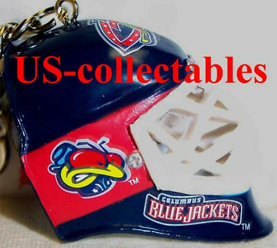 NHL COLUMBUS BLUE JACKETS Goalie Face Mask Keychain Rare Sports Collectible Gift