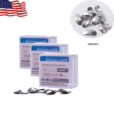 EASYINSMILE 3Boxes Dental Metal Matrices Sectional Contoured Matrix Refill S/M/L