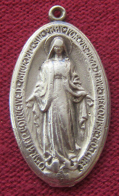 Antique Catholic Religious Holy Medal - MIRACULOUS - Very Old & Worn - STERLING
