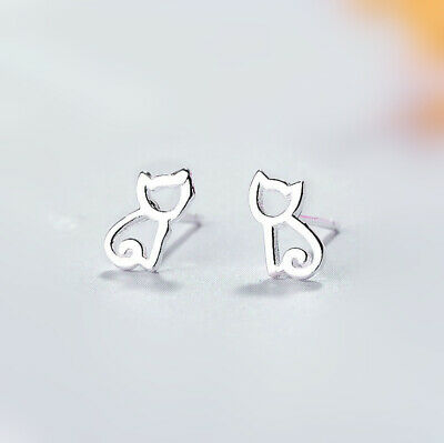 925 Sterling Silver Cutie Cat Hollow Stud Earrings Womens Girls Jewellery Gift