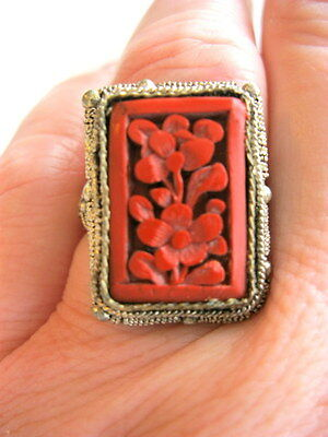 Exquisite Anitque Chinese Sterling Silver Ring Carved Cinnabar Or Red Laquer