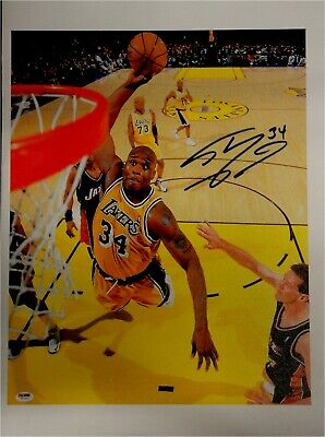 Shaquille O'Neal Shaq Hand Signed Autographed 16X20 Canvas Print PSA/DNA W53919