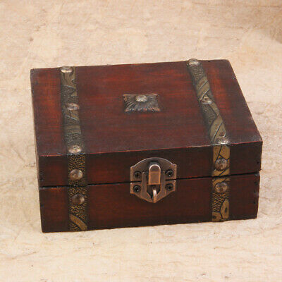 Decorative Trinket Jewelry Lock Chest Handmade Wooden Storage Box Metal Buckle
