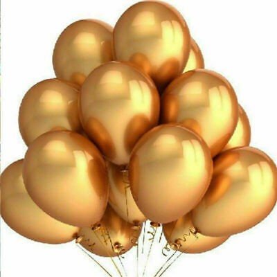 100Pcs Gold Latex Metallic Pearl Helium Balloons Air Wedding Birthday Party