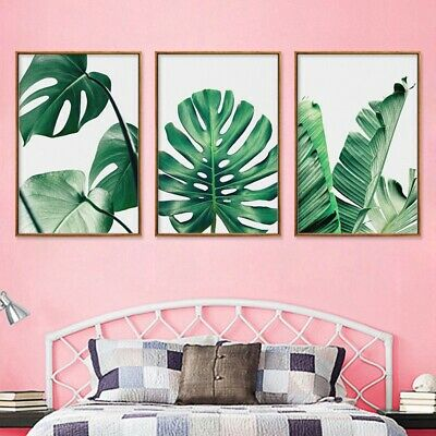 Nordic Modern Green Leaves Plants Canvas Painting Wall Art Pictures Posters