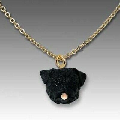 Dog on Chain PUG BLACK Resin Dog Head Necklace Jewelry Pendant