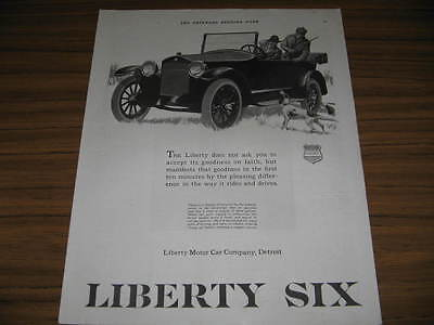 1920 Vintage Ad Liberty Six Motor Cars Hunting Dogs