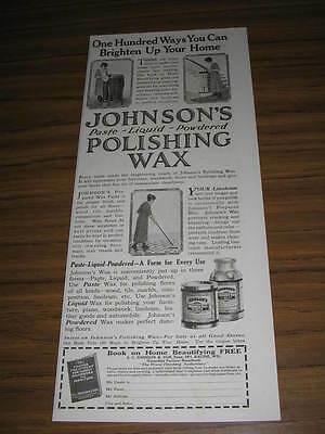 1923 Vintage Ad Johnson's Polishing Wax Housewife Cleans Home