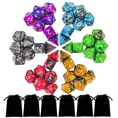42Pcs Double Colors Polyhedral Dices D4-D20 For Dungeons & Dragons DND RPG Game